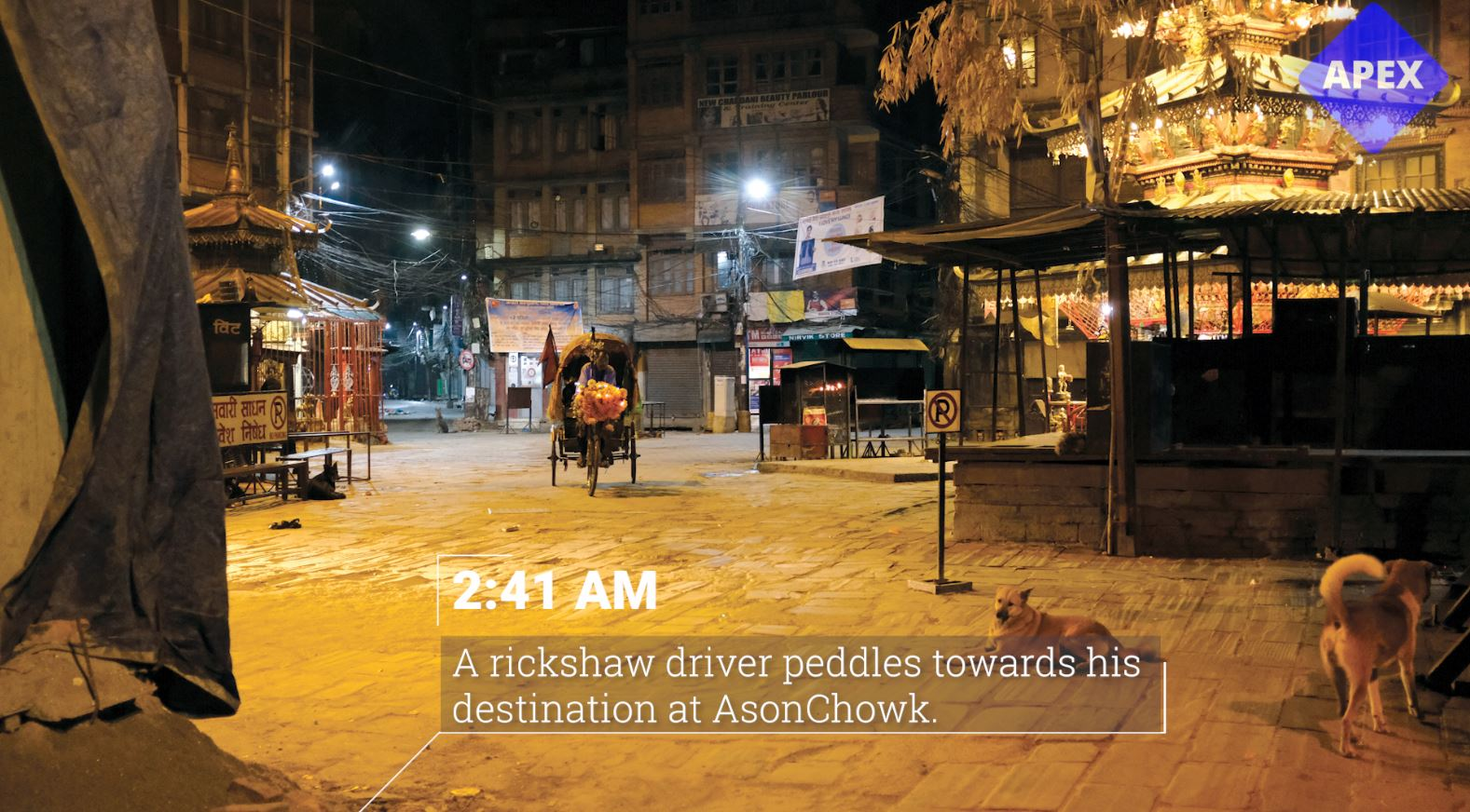 A rickshaw driver peddles towards his destination at Ason Chowk. (2:41 am)