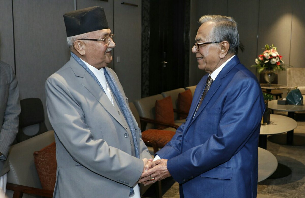 PM Oli with Bangladeshi President Abdul Hamid in 2019