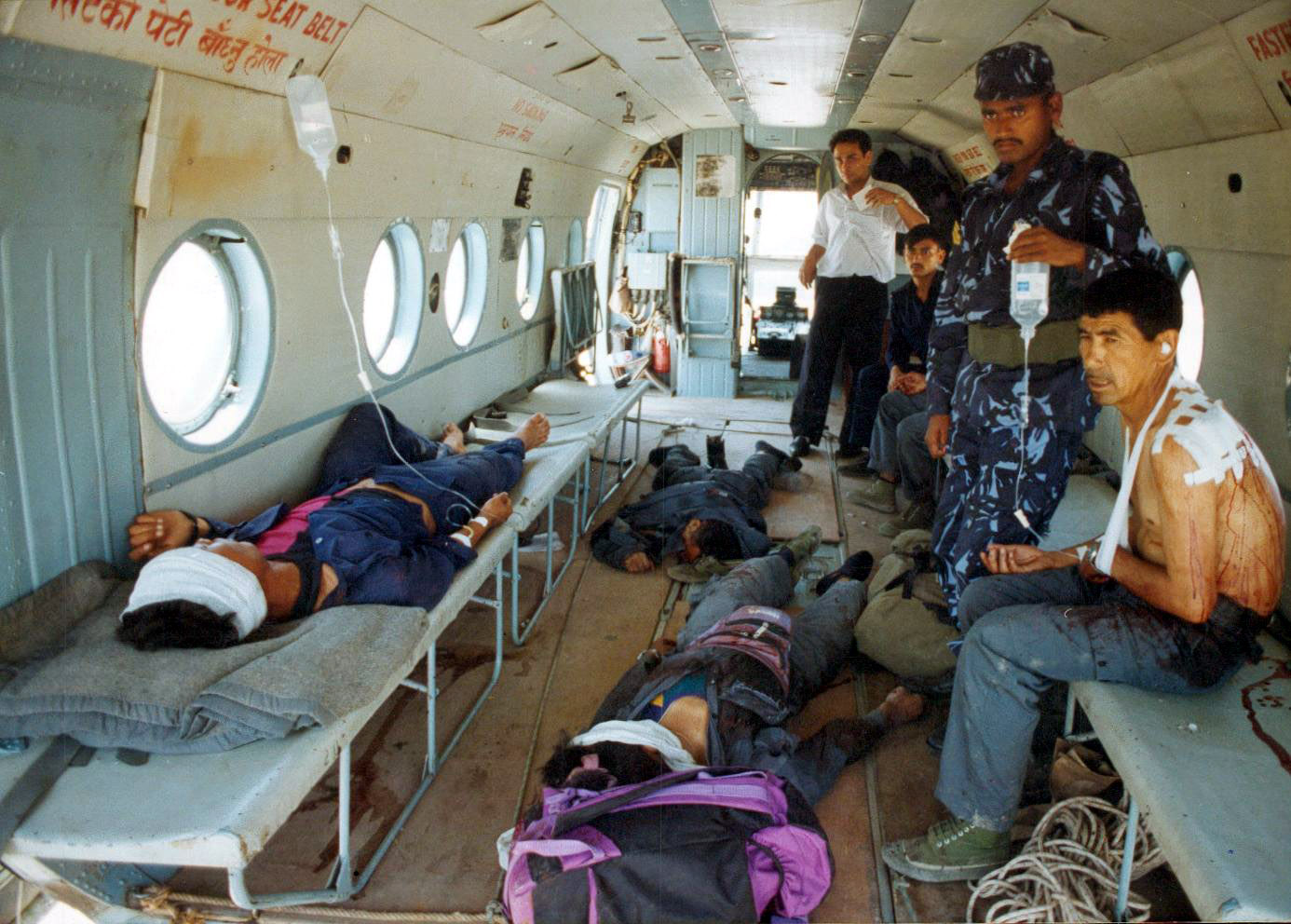 Injured & Dead Policemen after Maoists attack in Jajarkot being brought in helicpoter