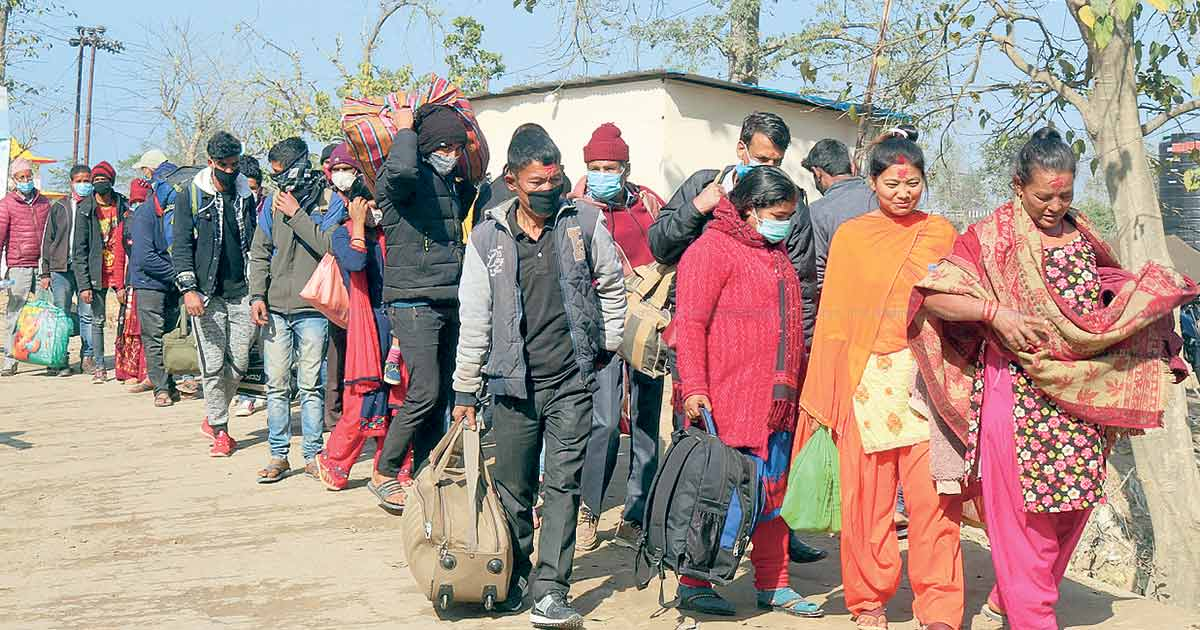 People in western Nepal heading back to India